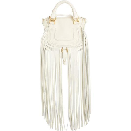 Chloé Crossbody Marcie Mini Fringe Special Edition White Leather Messenger Bag