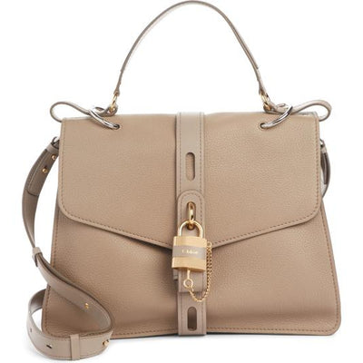 "Chloé ""Aby Day"" Large Grey Leather Shoulder Bag"