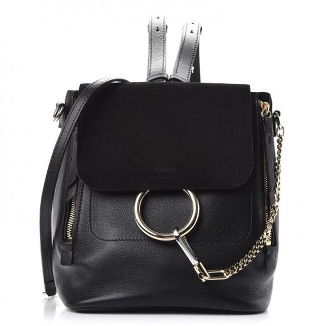 Chloe Faye Small Black Leather Backpack