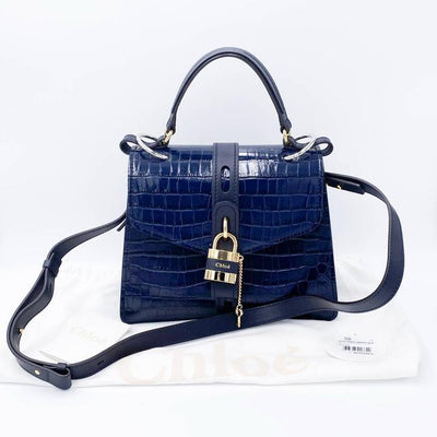 Chloe Medium Aby Croc Embossed Blue Calfskin Leather Shoulder Bag