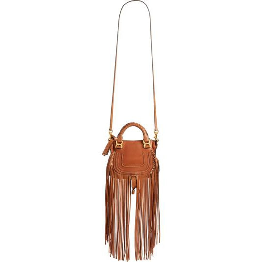 Chloé Mini Bag Marcie Fringe Brown Leather Tote