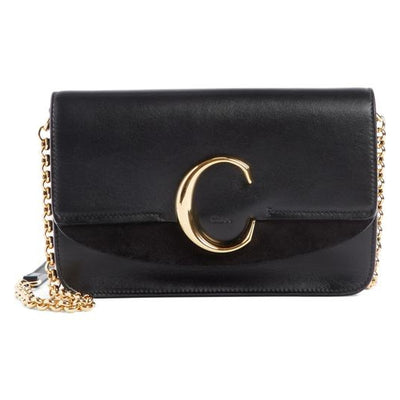 Chloe Mini Chain Wallet Black Leather Shoulder Bag