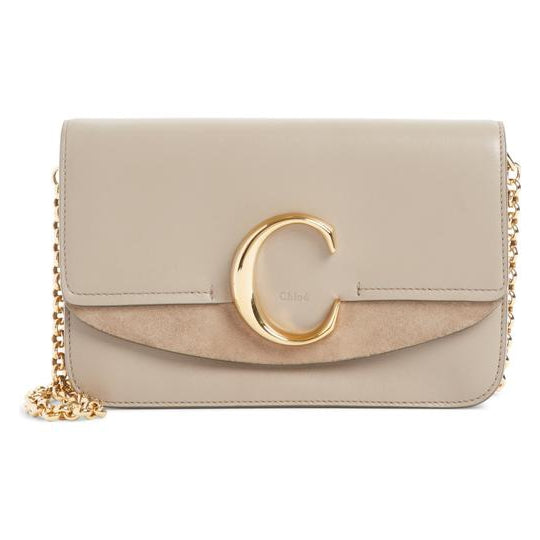 Chloe Shoulder Mini Motty Chain Wallet Grey Leather Cross Body Bag