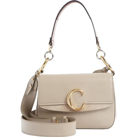Chloé Small C Suede Trimmed Motty Grey Leather Shoulder Bag