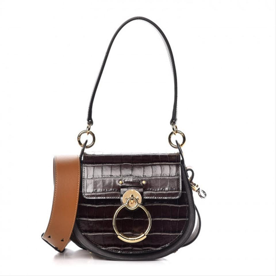 Chloé Small Tess Croc Embossed Calfskin Brown Crocodile Skin Leather Shoulder Bag