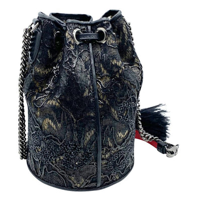 Christian Louboutin Bucket Marie Jane Lace Black Leather Shoulder Bag