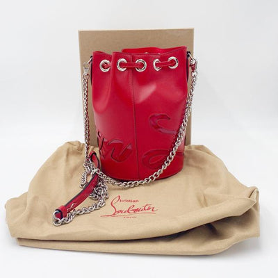 Christian Louboutin Bucket Marie Jane Logo Red Leather Shoulder Bag