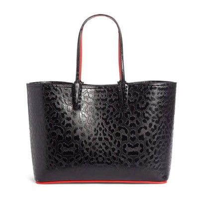 Christian Louboutin Medium Cabata Leopard Print Calfskin Black Leather Tote