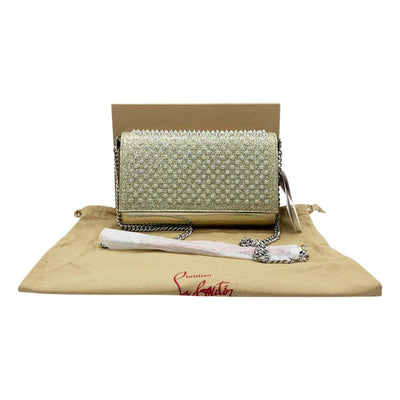 Christian Louboutin Clutch Mini Paloma Studded Glitter Gold Leather Shoulder Bag