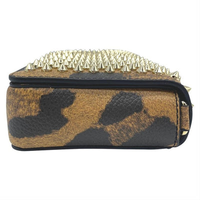 Christian Louboutin Clutch Zoomi Leopard-print and Spike Brown Leather Shoulder Bag