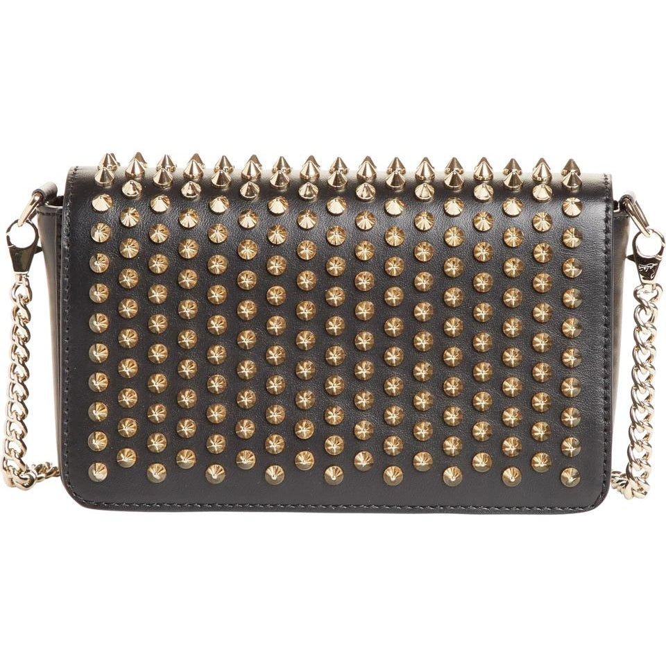 Christian Louboutin Clutch Zoompouch Spiked Black Leather Shoulder Bag