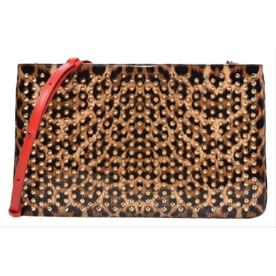 Christian Louboutin Crossbody Clutch Leopard Print Loubiposh Spiked Black Patent Leather Shoulder Bag