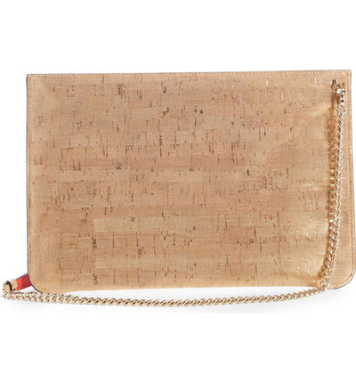 Christian Louboutin Crossbody Clutch Loubiclutch Studded Beige Leather Shoulder Bag