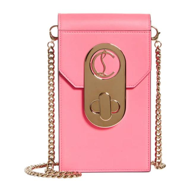 Christian Louboutin Crossbody Elisa Phone Pink Leather Shoulder Bag