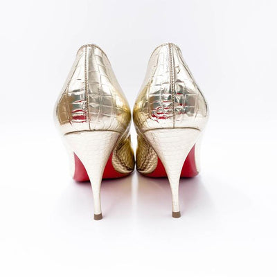 Christian Louboutin Silver Cocco Metallic Croc Embossed Pointed Toe Pumps EU 39