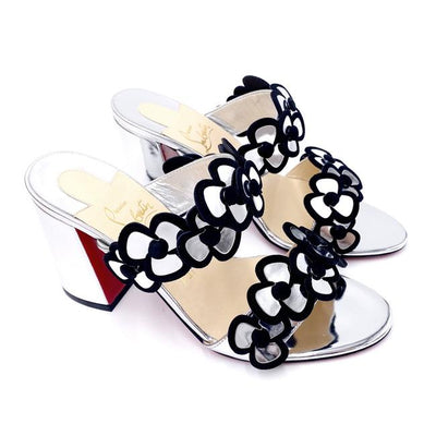 Christian Louboutin Silver Tres Pansy 85 Red Sandals