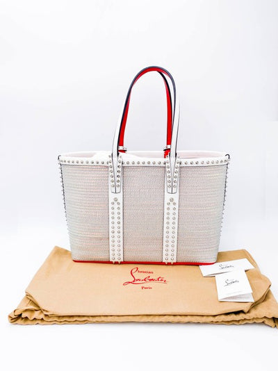 Christian Louboutin Small Cabata Studded Woven White Leather Tote