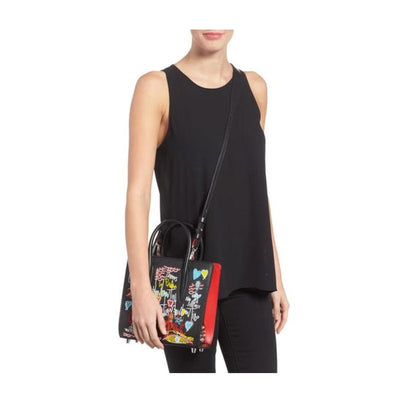 Christian Louboutin Small Paloma Loubitag Beaded Black Leather Tote