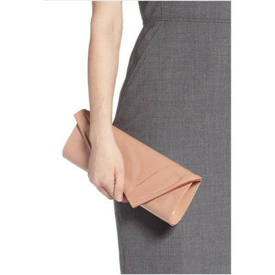 Christian Louboutin So Kate Nude Beige Patent Leather Clutch