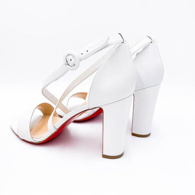 Christian Louboutin White Loubie Bee Cross Strap Sandals EU 41
