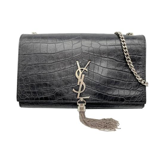 Saint Laurent Monogram Kate Crocodile Embossed Calfskin Medium Classic Tassel Black Leather Shoulder Bag