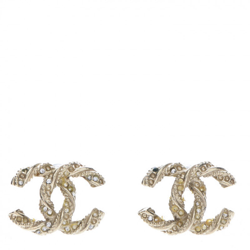 Chanel Gold Crystal Cc Twisted Earrings