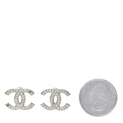 Chanel Gold Crystal Cc Earrings