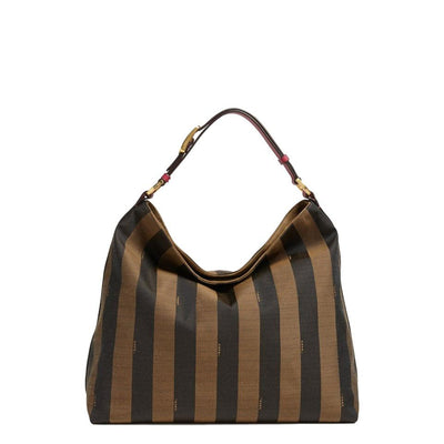 Fendi Hobo 'large Pequin' Logo Jacquard Brown Canvas Tote