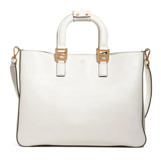 Fendi Medium Ff Top Handle White Leather Tote