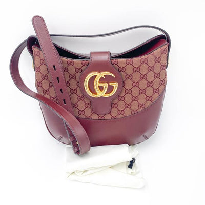Gucci Arli Medium Gg Canvas Red Leather Shoulder Bag