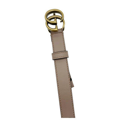 Gucci Beige Marmont New Double G Thin Nude .8cm Size 90 Belt