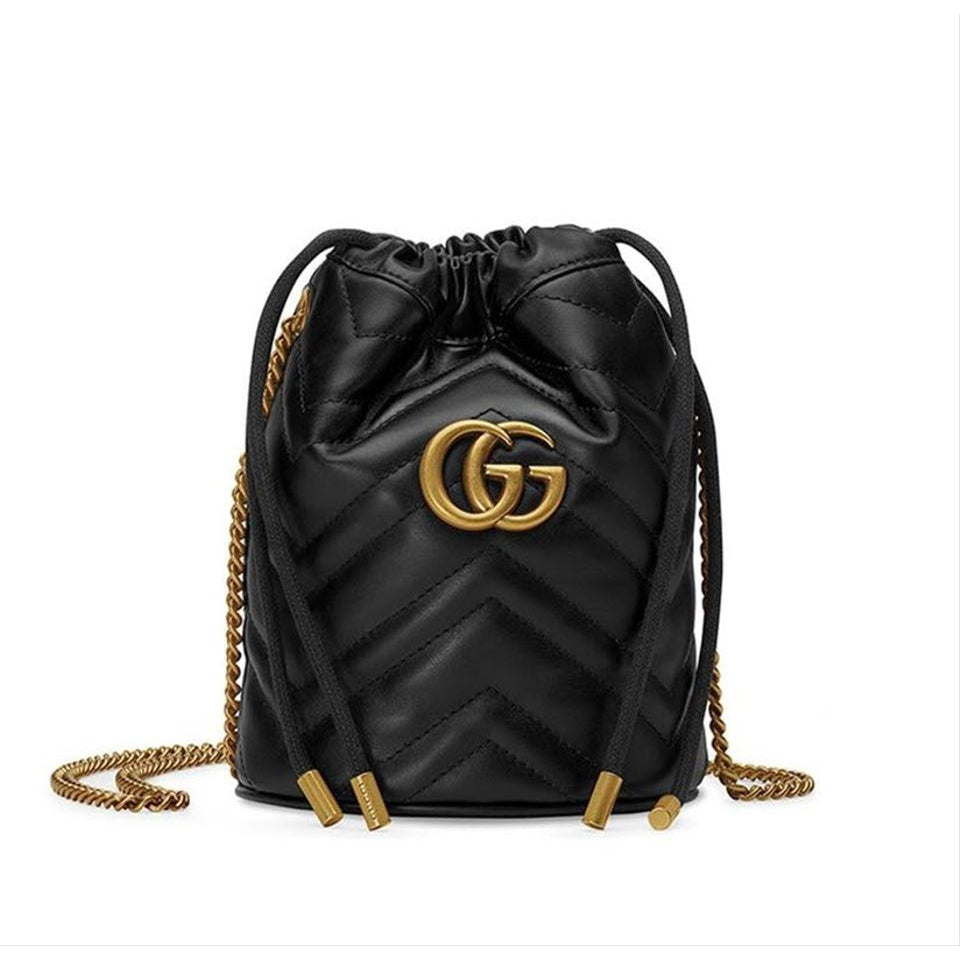 Gucci Bucket Marmont Gg 2.0 Mini Black Leather Shoulder Bag
