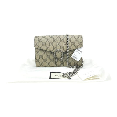 Gucci Chain Dionysus Gg Supreme Mini Brown Shoulder Bag