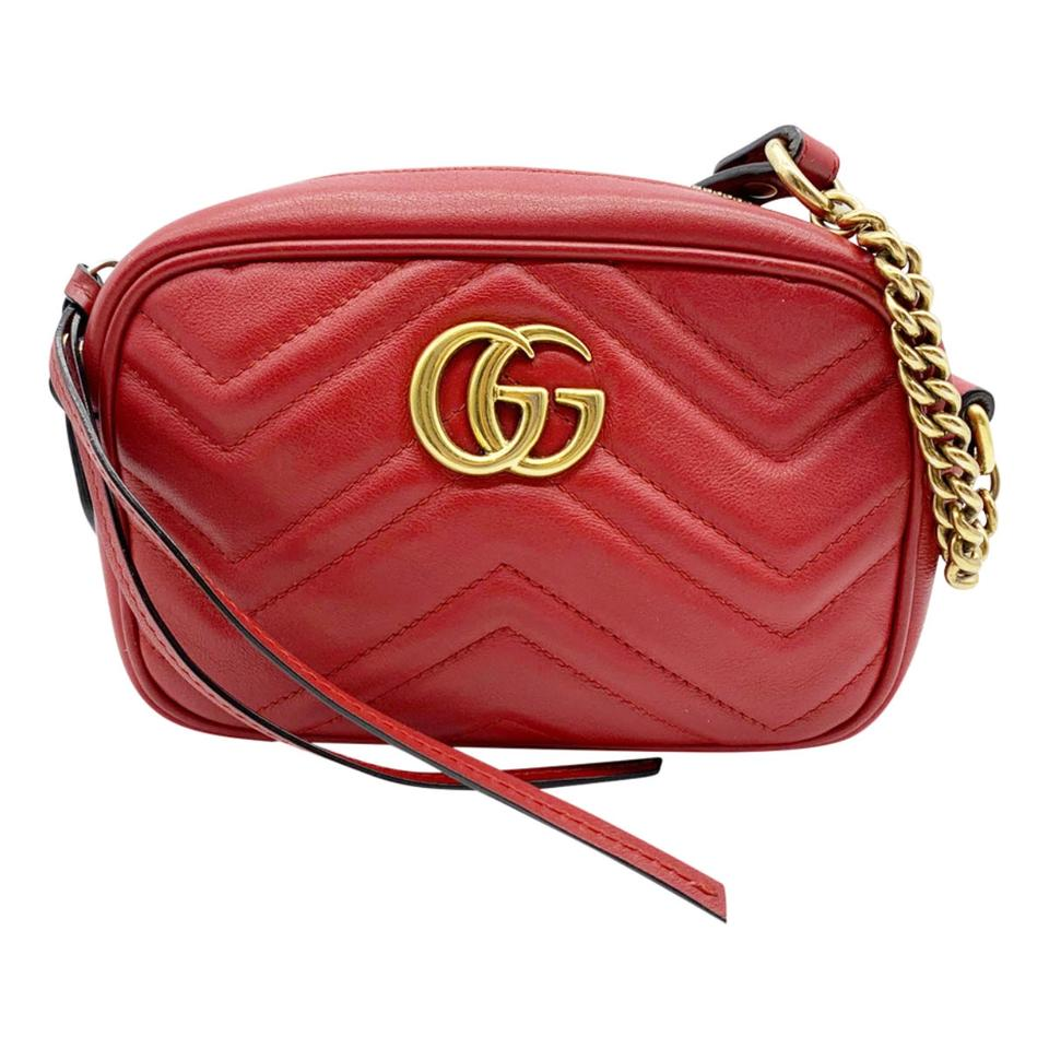 Gucci Chain Marmont Calfskin Matelasse Mini Gg Hibiscus Red Leather Shoulder Bag