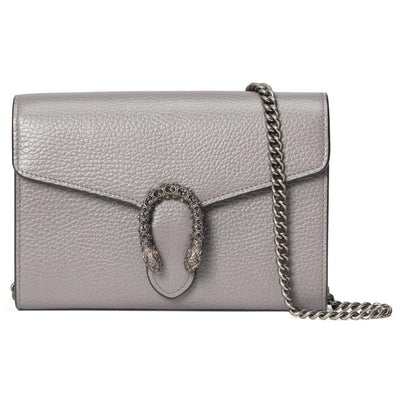 Gucci Chain Wallet Dionysus Mini Grey Leather Cross Body Bag