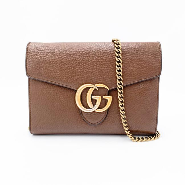 Gucci Chain Wallet Marmont Calfskin Gg Nut Brown Leather Shoulder Bag