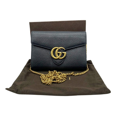 Gucci Marmont Medium Black Chain Wallet Crossbody