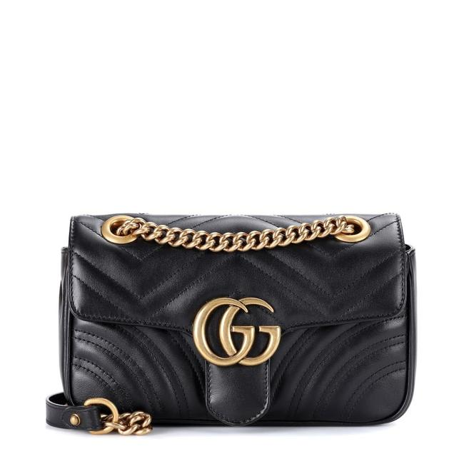 Gucci Crossbody Marmont Calfskin Matelasse Mini Gg Black Leather Shoulder Bag