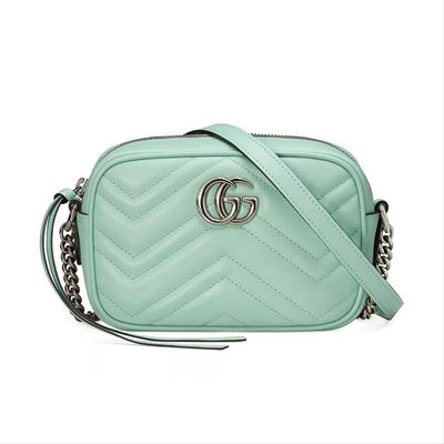 Gucci Crossbody Mini Marmont Gg Matelassé Green Leather Shoulder Bag