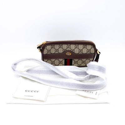 Gucci Crossbody Mini Ophidia Brown Gg Supreme Canvas Shoulder Bag