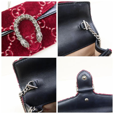Gucci Dionysus Gg Super Mini Red Velvet Cross Body Bag