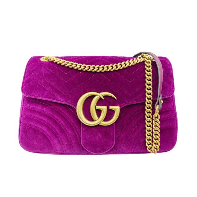 Gucci GG Marmont Matelasse Medium Fuchsia Purple Velvet Shoulder Bag