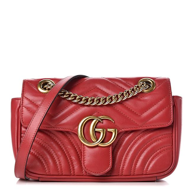 Gucci GG Marmont Mini Calfskin Matelasse Hibiscus Red Leather Shoulder Bag