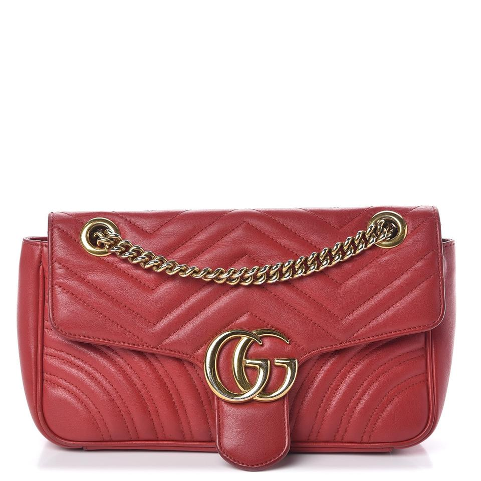 Gucci GG Marmont Shoulder Calfskin Matelasse Small Hibiscus Red Chevron Leather Cross Body Bag