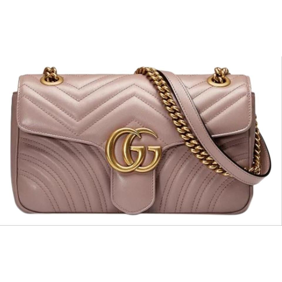 Gucci GG Marmont Small Quilted Shoulder Chain Antique Rose Beige Leather Cross Body Bag