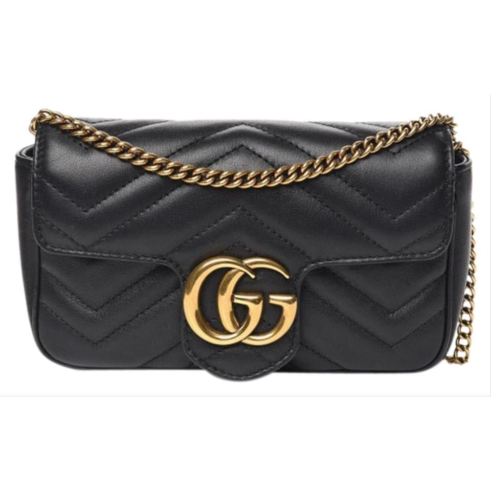 Gucci GG Marmont Super Mini Black Leather Shoulder Bag