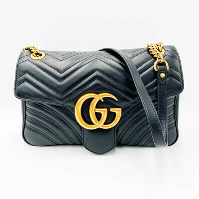 Gucci GG Shoulder Marmont Matelasse Medium Black Leather Cross Body Bag