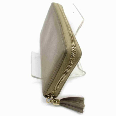 Gucci Gold Soho Metallic Pebbled Calfskin Zip Around Golden Beige Wallet