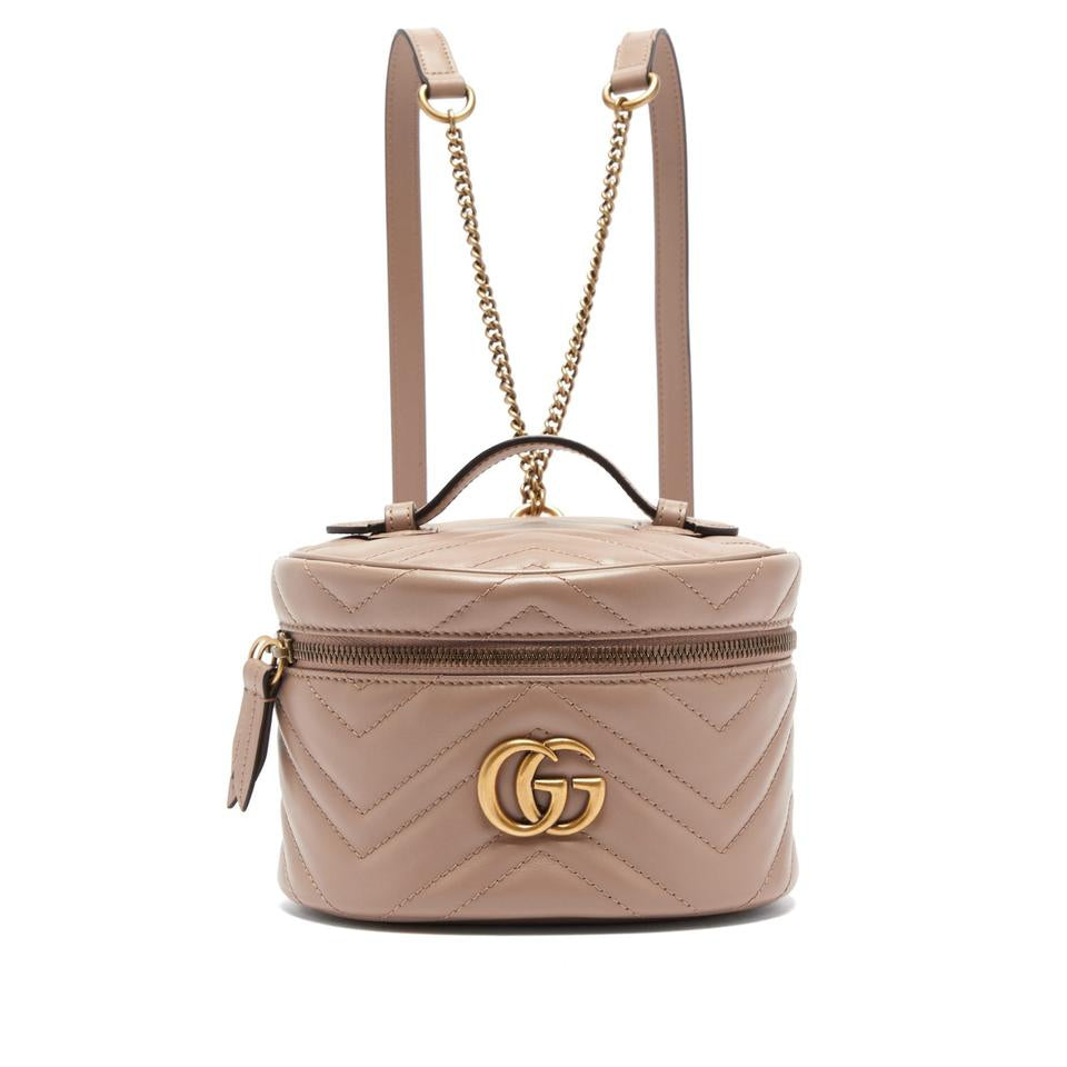 Gucci Marmont Beige Leather Backpack