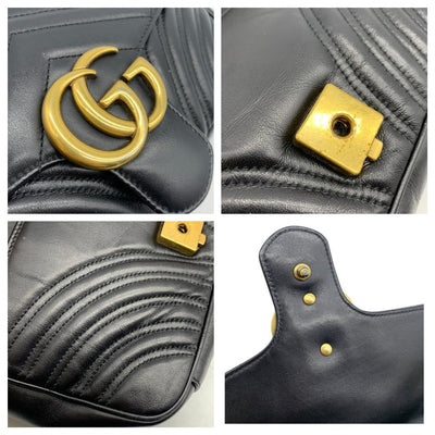 Gucci Marmont Calfskin Matelasse Small Gg Black Leather Shoulder Bag